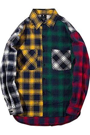 LifeHe Herren Lange Ärmel - Herren Damen kariertes Hemd Farbblock Langarm Knopfleiste Jacken Übergroß - - Groß
