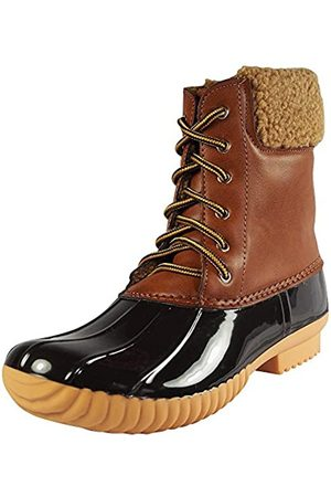 Nature Breeze Duck-02 Damen Stiefel, zum Schnüren und Reißverschluss, wasserdicht, isoliert, Beige (hautfarben)