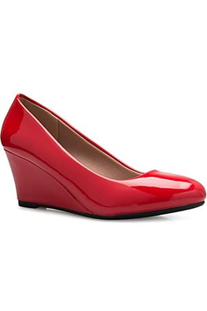 Olivia K OLIVIA K Süße Damenschuhe mit Keilabsatz – Pumps – einfaches Einschlüpfen, Komfort, Rot (rotes Leder)