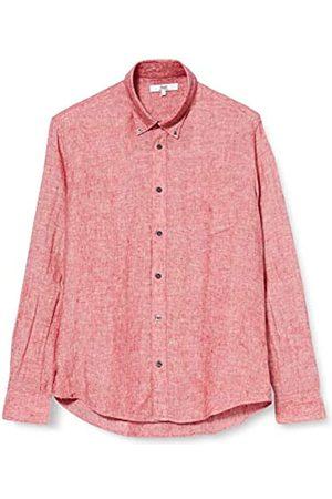 FIND Amazon-Marke: find. Herren Langärmeliges Leinenhemd, Rot, S