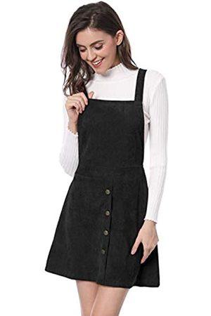 Allegra K Damen Freizeitkleider - Damen A Linie Button Dekor Cord Latzkleid Kleid XL