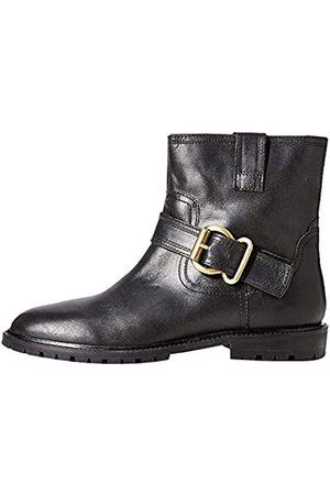 FIND Amazon-Marke: Pull on Leather Buckle Biker Stiefeletten, Black)