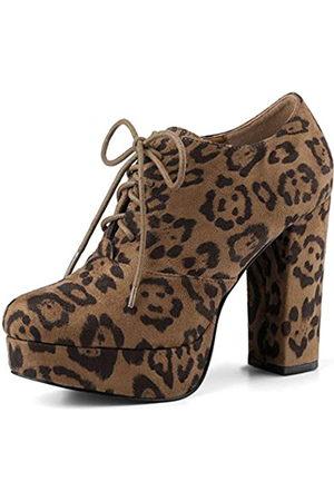 Allegra K Damen Lace Up Blockabsatz Leopard Ankle Boots Stiefel 41
