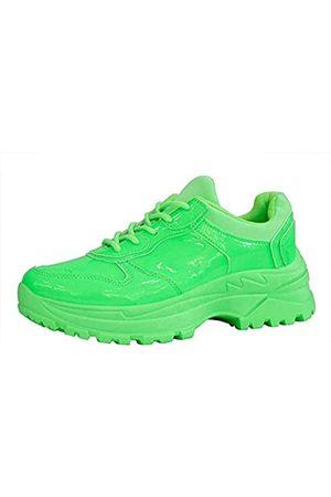 LUCKY STEP Damen Chunky Plateau Dad Colorblock Weiß Neon Fuchsia Hologramm Silber Casual Schnürschuhe Walking Sneakers (Grn)
