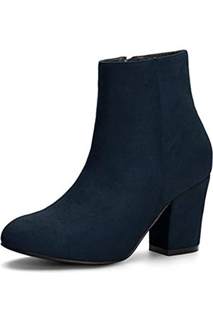 Allegra K Damen Round Toe Reißverschluss Blockabsatz Ankle Boots Stiefel 42