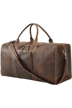 Texbo Texbo Herren-Reisetasche aus Vollnarbenleder mit YKK-Reißverschlüssen (Braun) - 10464501