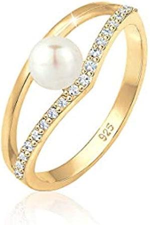 Elli Elli Ring Damen Elegant Süßwasserzuchtperle mit Swarovski® Kristalle in 925 Sterling Silber vergoldet