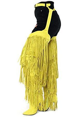 Cape Robbin Damen Stiefel mit Fransen, Oberschenkel hoch über das Knie, Stiletto-Absatz