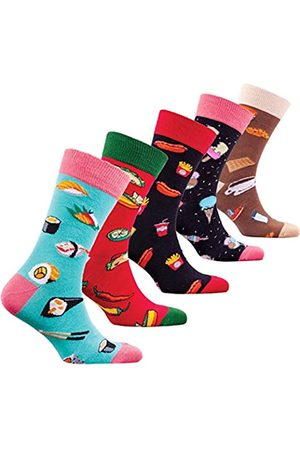 socks n socks Männer 5 pk Bunte Baumwolle Neuheit Sushi Fastfood Socken Geschenkbox Einheitsgröße