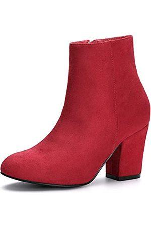 Allegra K Damen Round Toe Reißverschluss Blockabsatz Ankle Boots Stiefel 40