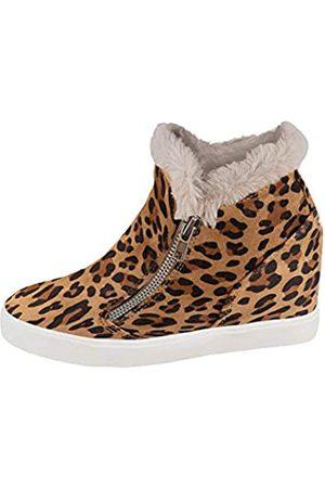 LAICIGO Damen-Sneakers, versteckter Keilabsatz, Plateau-Sneakers, seitlicher Reißverschluss, geschlossene Zehenpartie, Kunstleder-Stiefeletten, (6-Leopard)