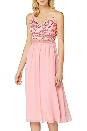 TRUTH & FABLE Amazon-Marke: Damen Midi-Chiffon-Kleid, Mehrfarbig (Blush Leaf Pailletten/Perlen), 46