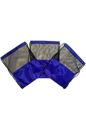 TheAwristocrat 3 Stück Nylon Kordelzug Rucksäcke Sackpack Tote Cinch Gym Bag – verschiedene Farben (Blau) - TA-DSB-BLU-RM-CA