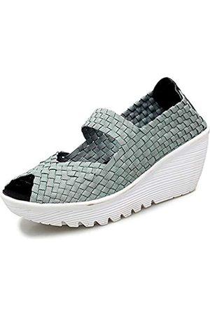 EnllerviiD EnllerviiD Mary Jane Damen-Sandalen mit Keilabsatz, geschlossener Zehenbereich, gewebt, Plateauabsatz, (111grün)