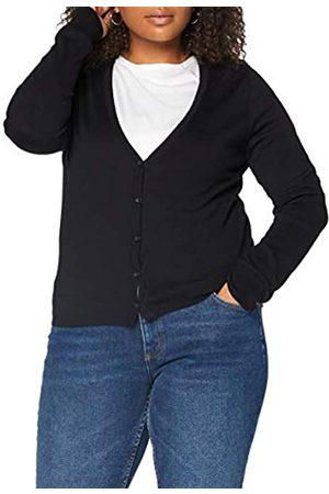 MERAKI Amazon-Marke: Baumwoll-Strickjacke Damen mit V-Ausschnitt (Black), 36