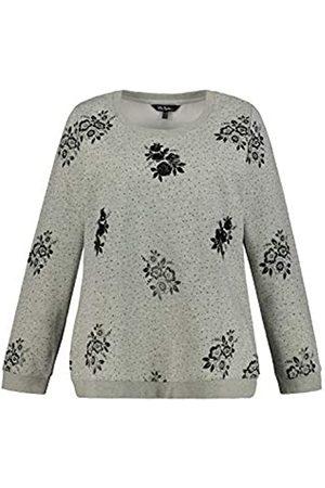 Ulla Popken Damen Blumendruck und Pailletten Sweatshirt