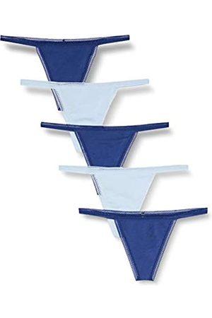 IRIS & LILLY Amazon-Marke: Damen G-String mit Spitze, 5er-Pack, Mehrfarbig (Twilight Blue/Cashmere Blue), XL
