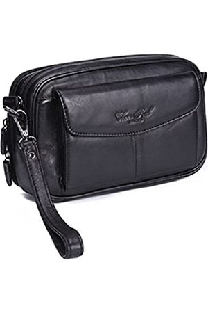 Hebetag Hebetag Leder Clutch Geldbörse für Herren Organizer Handtasche, Schwarz (#03black)