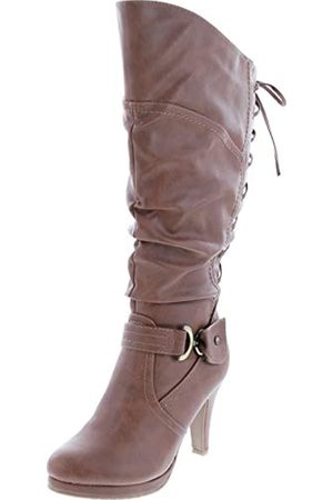 Top Moda Damen Stiefeletten mit hohem Absatz, Beige (hautfarben)