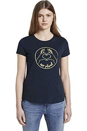 TOM TAILOR Damen Rundhals T-Shirt, 10360-Real Navy Blue