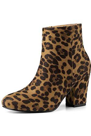Allegra K Damen Round Toe Reißverschluss Blockabsatz Ankle Boots Stiefel 35.5