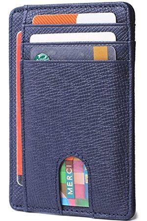 Borgasets Slim minimalistische Vordertasche RFID-blockierendes Leder Geldbörse für Männer und Frauen Kreditkarten-Halter - Blau - Small