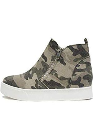 Soda Taylor versteckter Keilabsatz, modische Sneaker-Schuhe mit seitlichem Reißverschluss, Mehrfarbig (Helles Khaki Camo)