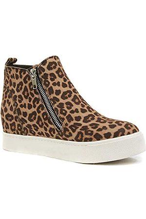 Athlefit Damen Sneaker mit verstecktem Keilabsatz und Reißverschluss, Keilschuhe, Damen, Newws156-leopard-6.5