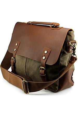GEARONIC TM GEARONIC Men's Faux Leather Canvas Messenger Vintage Satchel Shoulder Bag School Laptop (Green)