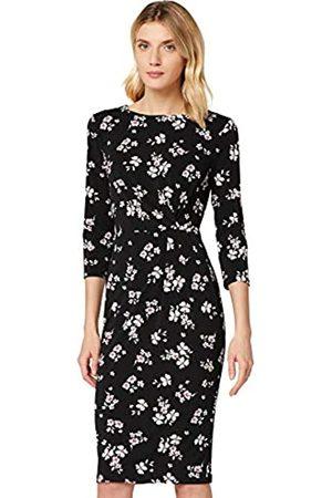 TRUTH & FABLE Amazon-Marke: Damen Midi-Schlauchkleid aus Jersey, Mehrfarbig (dunkel floral), 40