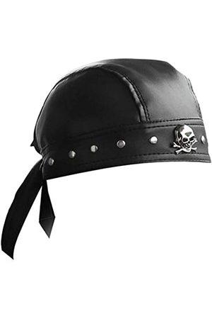 punkman2000 Leder-Bandana, Biker, Doo Do Rag Headwrap mit Nieten, Totenkopf-Mütze