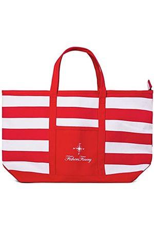 Fishers Finery Fishers Finery Robuste Canvas-Strandtasche mit Reißverschluss; mehrere Größen und Farben (Rot) - LT-04-BG1-831-RED-L
