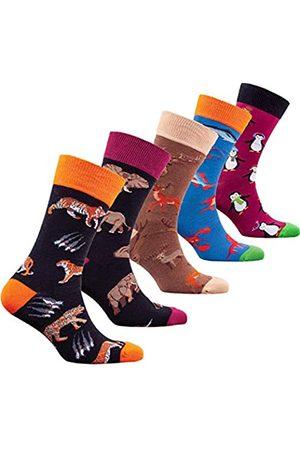 socks n socks Männer 5 pk Bunte Baumwolle Neuheit Wilden Tiere Jäger Socken Geschenkbox Einheitsgröße