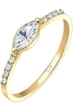 Elli Elli Ring Damen Verlobung Elegant mit Swarovski® Kristalle in 925 Sterling Silber vergoldet