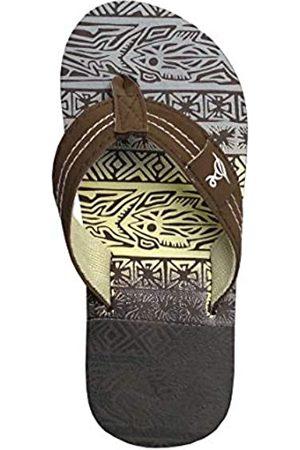 REDVOLUTION New Boys' Tropial Print Beach Sandals Geometric Bali Flip-Flop Sandals (Brown
