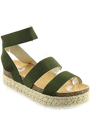 Nature Breeze Kacie Damen Sandalen mit geschlossener Zehenpartie, Grün (olivgrün)