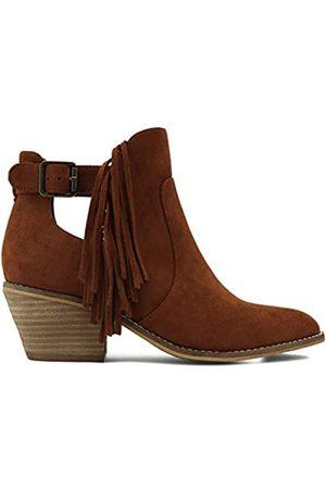 Beast Fashion Sunny Slip On Side Cut Out Western Bootie, (Fransen Cognac)