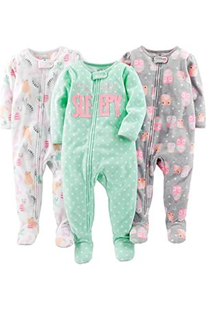 Simple Joys by Carter's Mädchen 3-pack Loose Fit Flame Resistant Fleece Footed Pajamas Schlafstrampler
