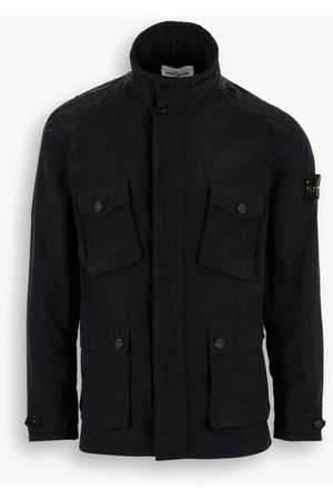 Stone Island Blue nylon jacket with pockets detail