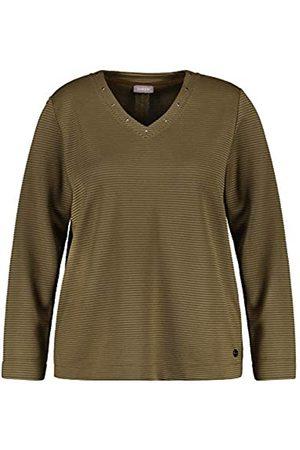 Samoon Damen V-Shirt aus Struktur-Jersey leger 40/42