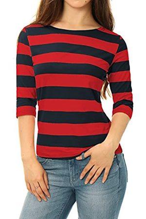 Allegra K Damen Halbarm U Neck Streifen Top Bluse XL