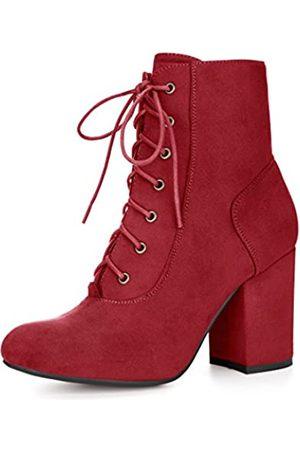 Allegra K Damen runder Kopf grobe hohe Absätze Schnuerschuh Stiefel Winter 35.5