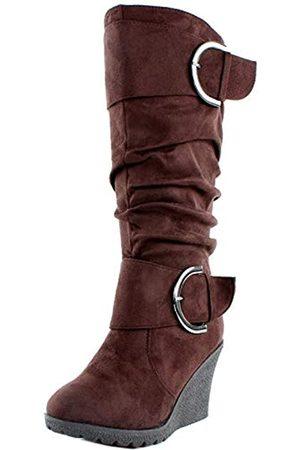 Top Moda Top Moda Pure 66 Slouch Damen Stiefel mit Keilabsatz (braun)