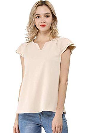 Allegra K Damen Arbeiten Business Casual Plain Cap Sleeve Bluse Top Medium