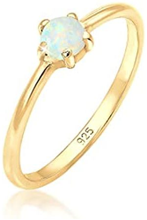 Elli Elli Ring Damen Basic Bandring Synthetischer Opal Geo in 925 Sterling Silber