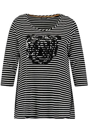 Samoon Damen Ausgestelltes Ringelshirt mit Tiger-Motiv A-Linie