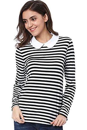 Allegra K Damen Langarm Bubikragen Colorblock Streifen Top Bluse S