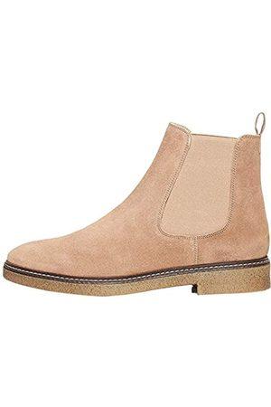 FIND Amazon-Marke: Damen Chelsea Boots aus Glattleder, mit Kreppsohle, Taupe)