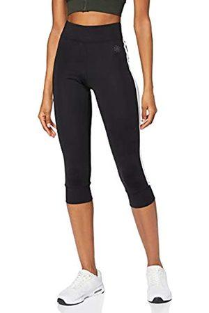 AURIQUE Amazon-Marke: Damen Sport Leggings Side Stripe Cropped (Black), 40