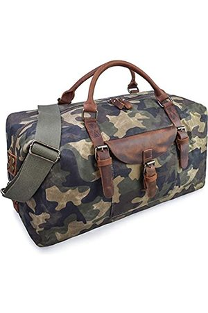NEWHEY Übergroße Reisetasche Seesack wasserdicht Canvas Weekender Leder Overnight Handtasche (Mehrfarbig) - 2056